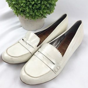 Sam Edelman white patent leather penny loafers